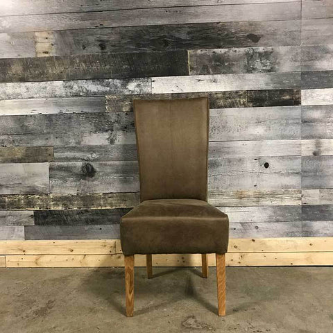 Herman solid oak rustic brown soft leatherette dining chair