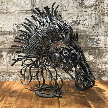Horse head scrap metal sculpture