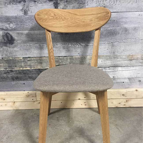 Isku solid oak beige material chair