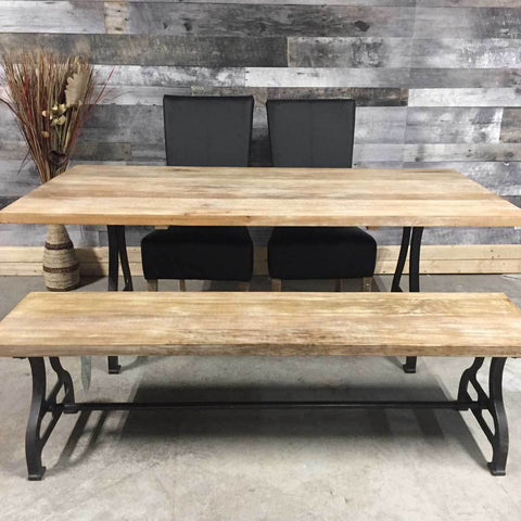 "71"" Savannah solid wood industrial dining table"