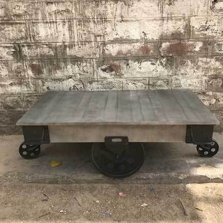 Industrial Grey Factory Railroad cart coffee table
