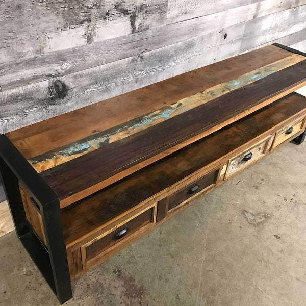 Reclaimed wood TV stand perfect for lofts