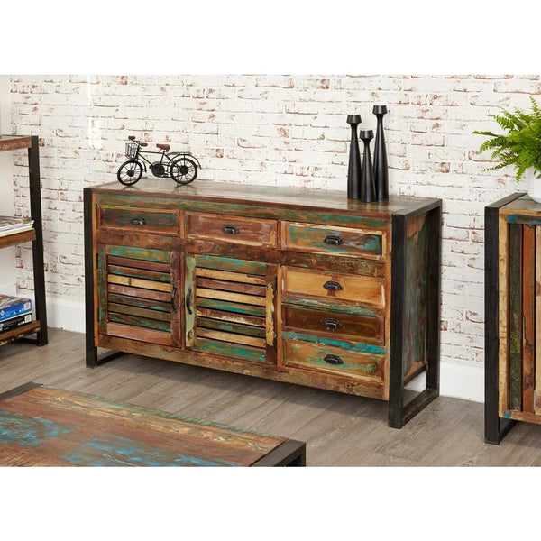 Distressed industrial sideboard with vintage metal