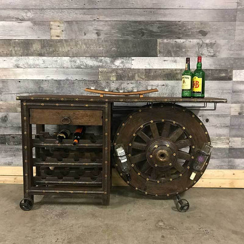 Large Old wagon wheel cart wine rack