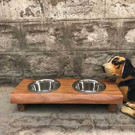 Small live edge acacia animal pet feeder dining set