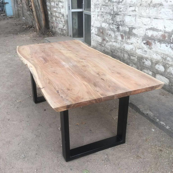 Yosemite live edge acacia wood dining table with U legs