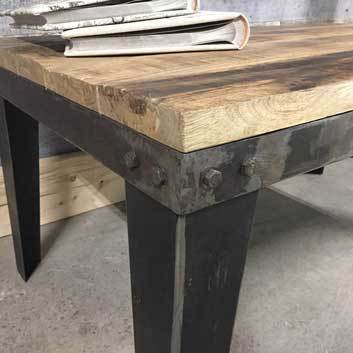 Industrial coffee table with metal legs