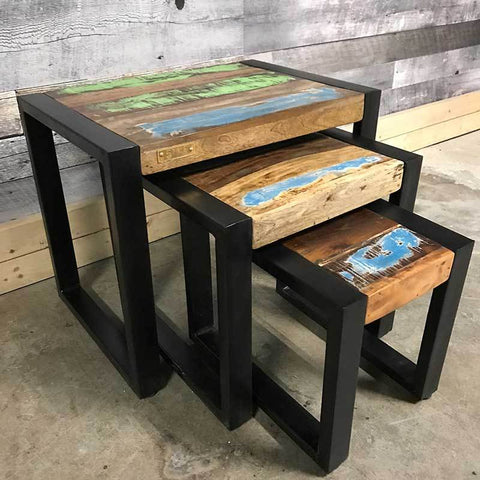 Industrial wooden end tables