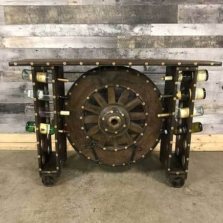 Old wagon wheel cart wine rack