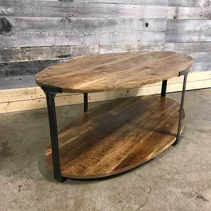 Anna industrial rustic oval mango wood coffee table