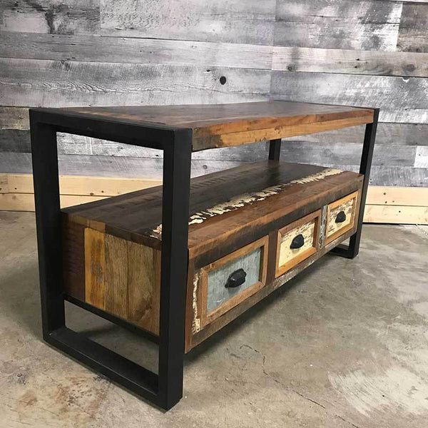 Reclaimed wood industrial wide screen Tv stand