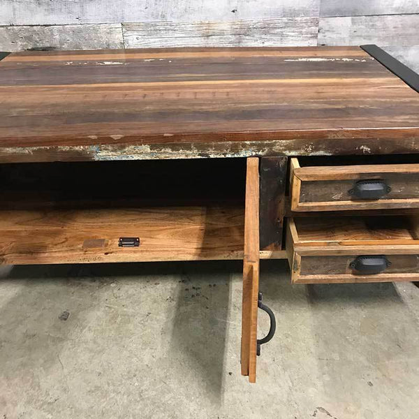 Cancun Industrial reclaimed wood coffee table with storage