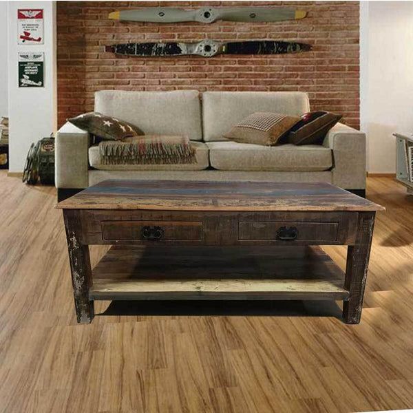 Reclaimed wood coffee table in industrial looking loft