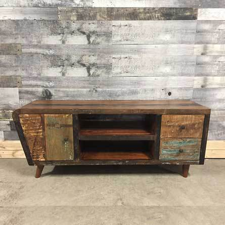 Vintage Reclaimed Wood TV Unit Display Cabinet