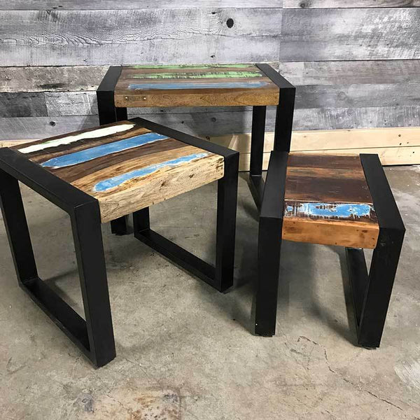 Rustic stacking end tables