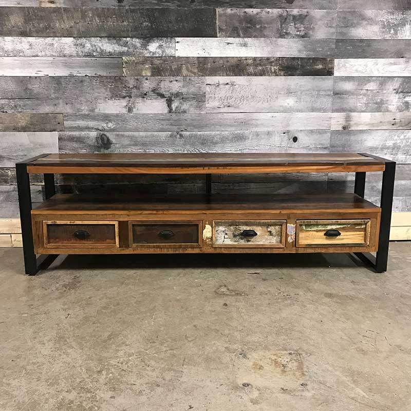 Unique industrial wide screen TV stand