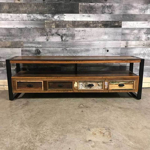 191b8d5f3dcb Unique industrial wide screen TV stand. Cancun Industrial reclaimed wood ...