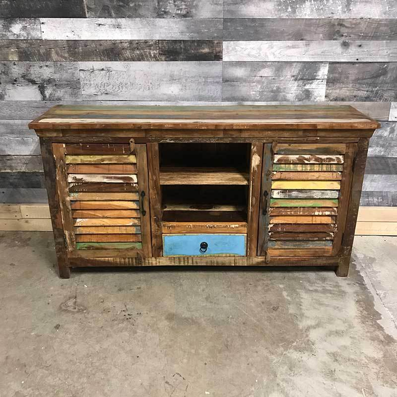Reclaimed wood shutter door TV stand-side board