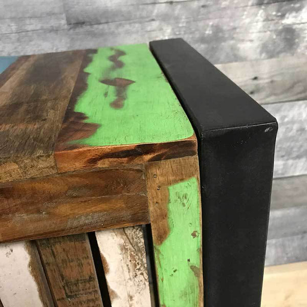 Cancun Industrial reclaimed wood lamp stand