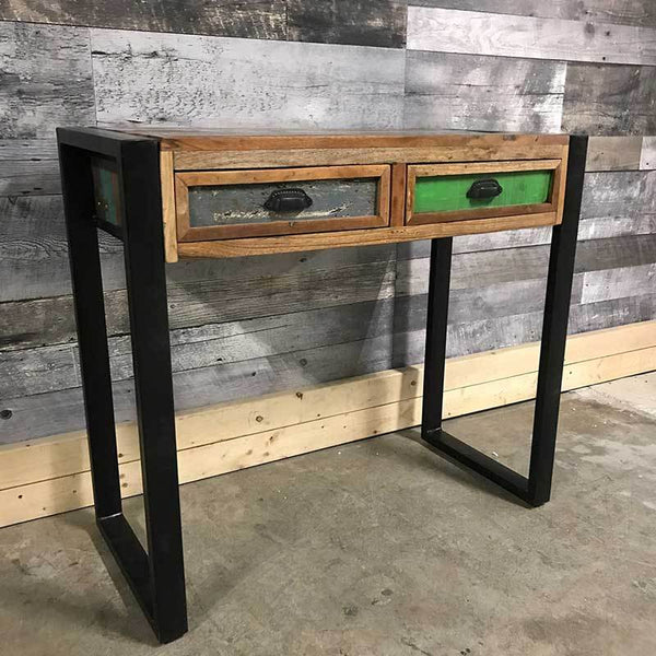 Industrial reclaimed wood rustic console table