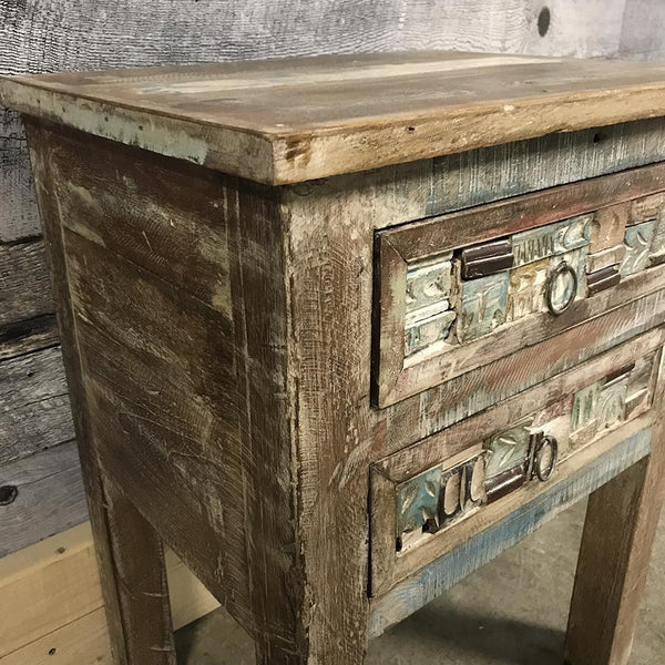 Reclaimed wood night stand of 2 drawers