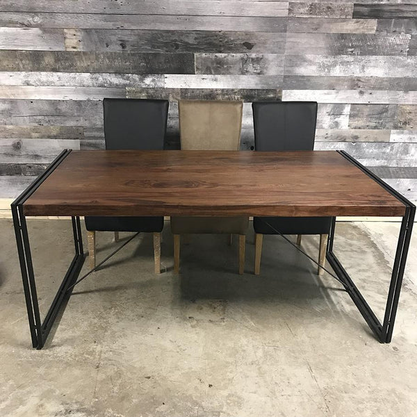 "72"" Kraanti Rosewood industrial dining table"
