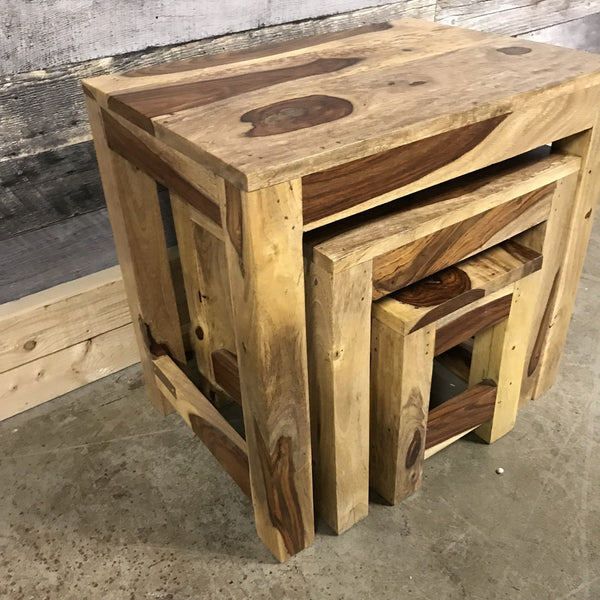 Zen Rosewood Sheesham Nesting End Tables