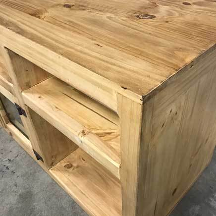 Rustic pine plasma tv stand with storage