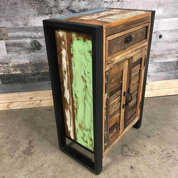 Cancun Industrial reclaimed wood cupboard
