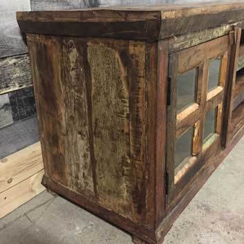 Solid reclaimed wood construction for this TV stand