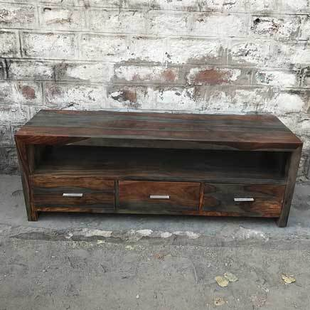 Zen Grey Rosewood Sheesham 3 drawer TV Stand