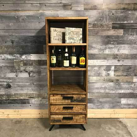 Trendy Rustic Industrial Mango wood Bookcase