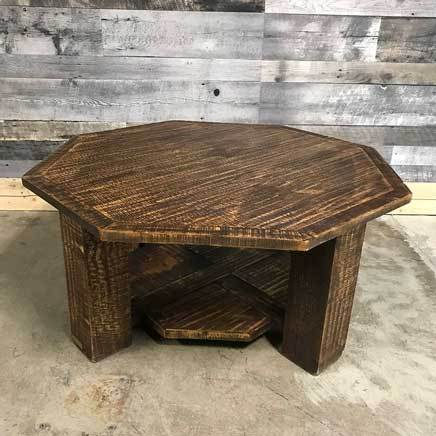 Barn wood looking octogonal coffee table