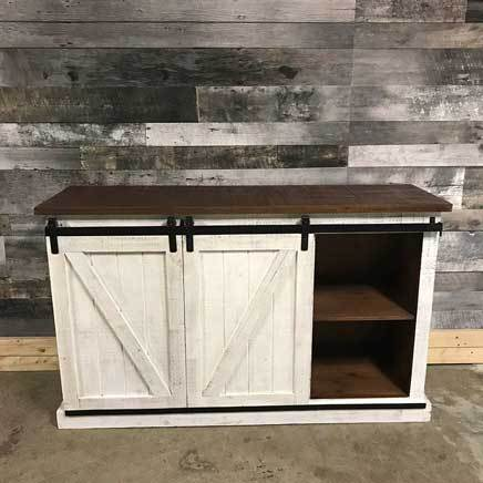 Bella barn door TV stand distressed white 60 inch