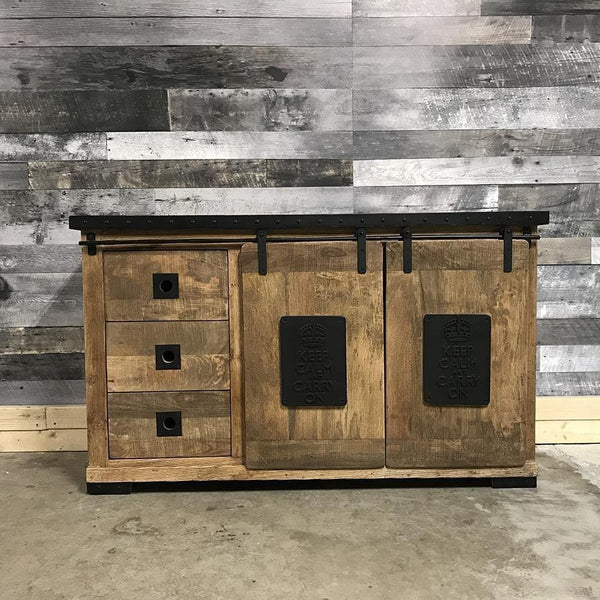 Keep Calm Carry On industrial rustic buffet