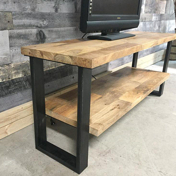 Solid wood mango wood industrial TV stand