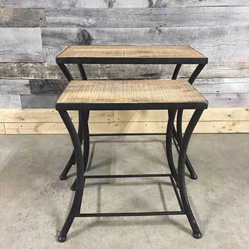 Savannah industrial nesting mango wood end table