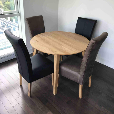 Genova Solid oak round extendable dining table