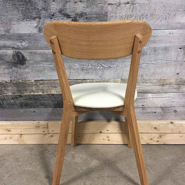 Isku solid oak white leatherette chair