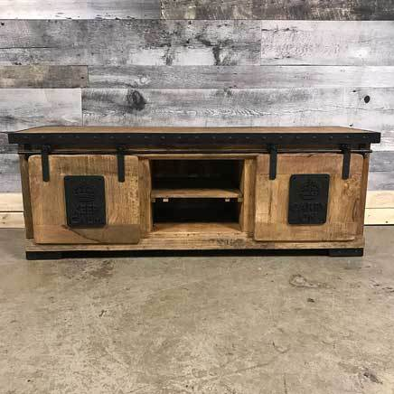 Keep Calm Carry On industrial rustic TV stand