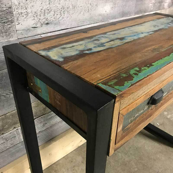 Exotic wood entryway console table made from reclaimed wood