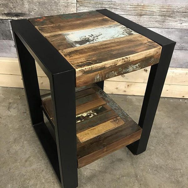 Cancun Industrial reclaimed wood end table