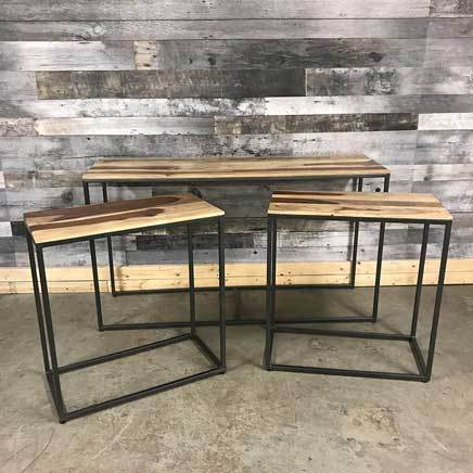 Zen Nesting Console tables Natural rosewood