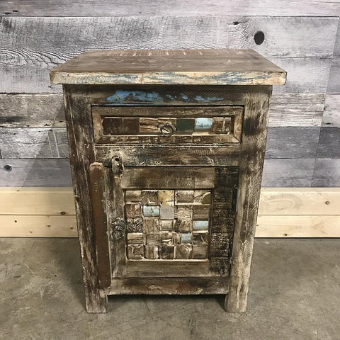 Reclaimed wood night stand 1 drawer 1 door Right