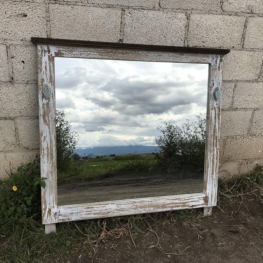 Tacoma rustic Mexican pine wood frame mirror