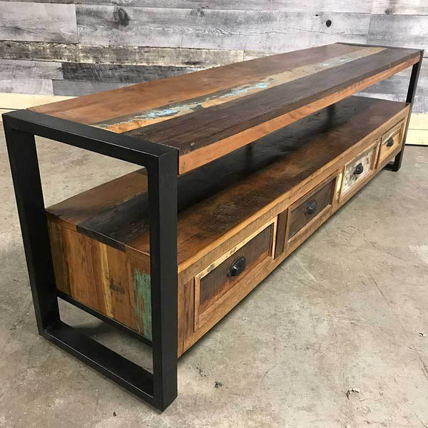Rustic colourful reclaimed wood tv stand