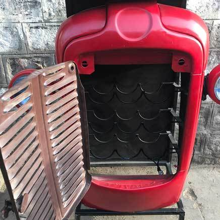 Red Upcycled Vintage Tractor Bar storage cabinet