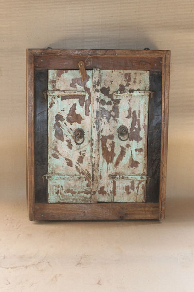 Antique vintage Indian reclaimed Shuttered Window mirror