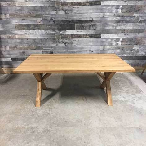 scandinavian style harvest table with wooden legs