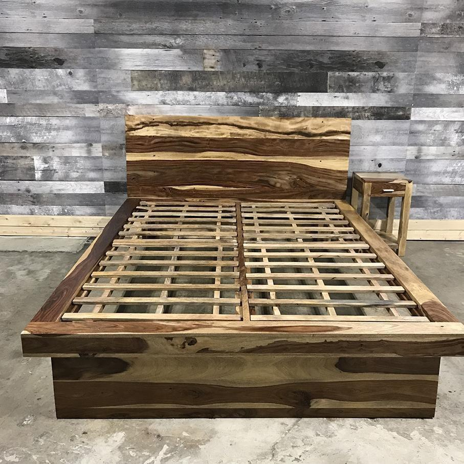 Zen Classic Rustic Natural Rosewood bed frame